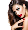Sexy Beauty Girl with Red Lips and Nails. Provocative Makeup - PhotoDune Item for Sale