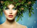 Christmas Woman. Christmas Tree Holiday Hairstyle and Makeup - PhotoDune Item for Sale
