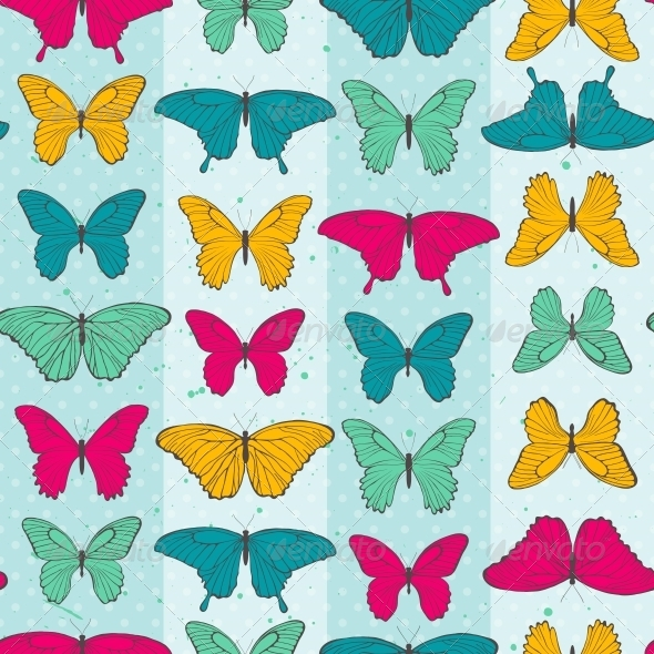 GraphicRiver Seamless Pattern with Colorful Butterflies 6353132
