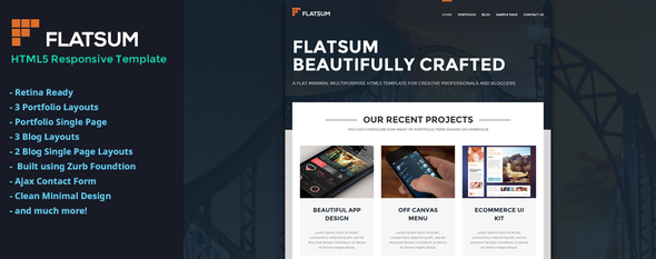 ThemeForest FlatSum Minimal HTML5 Portfolio Template 6353176