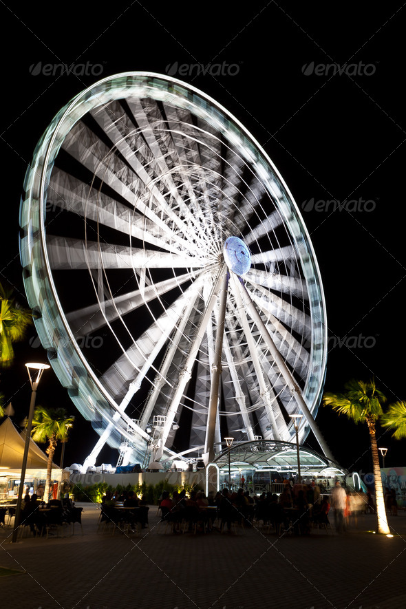 Eye of Malaysia night long exposure - Stock Photo - Images