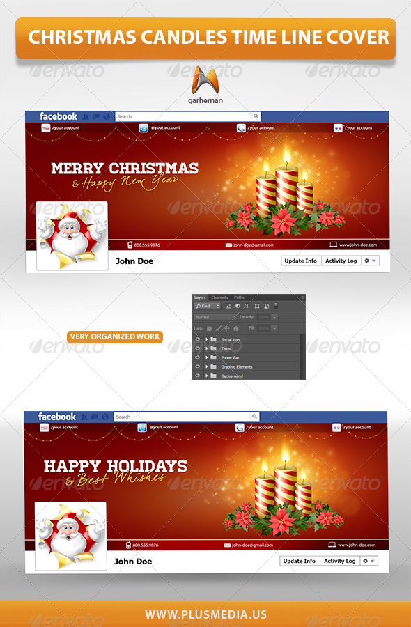 GraphicRiver Christmas Candles Time Line Cover 6353423