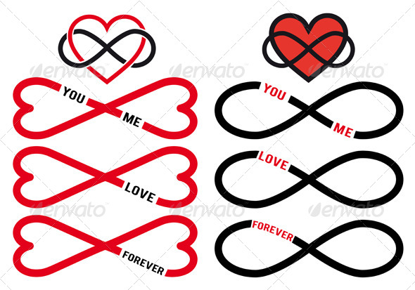 GraphicRiver Never Ending Love Red Infinity Hearts Vector Set 6353448
