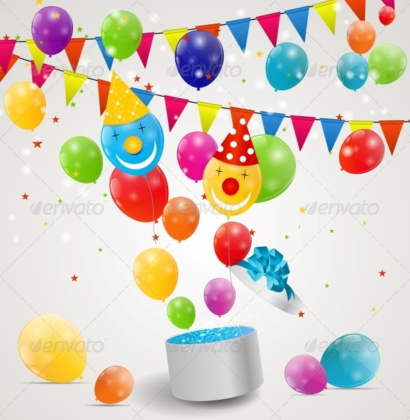 GraphicRiver Color Glossy Balloons in Gift Box Background 6353800
