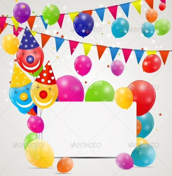 GraphicRiver Color Glossy Balloons Birthday Card Background 6353891