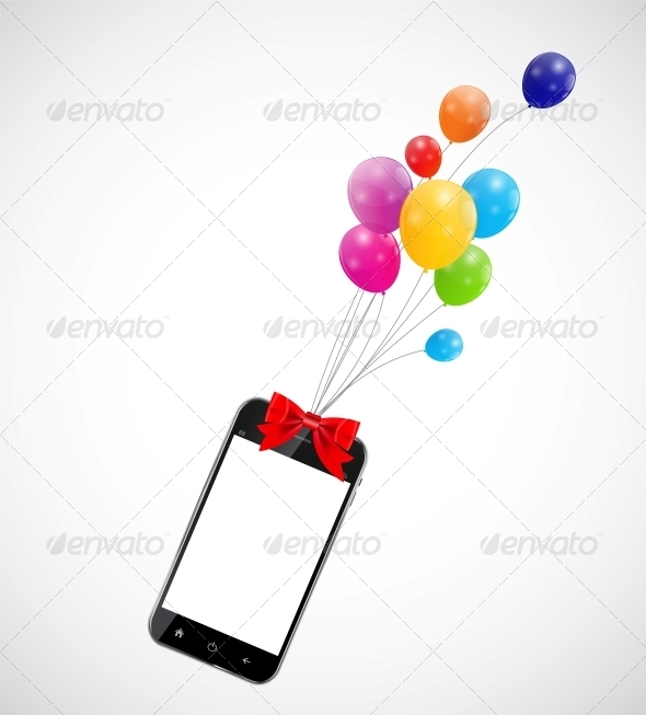 GraphicRiver Color Glossy Balloons with Mobile Phone 6353895