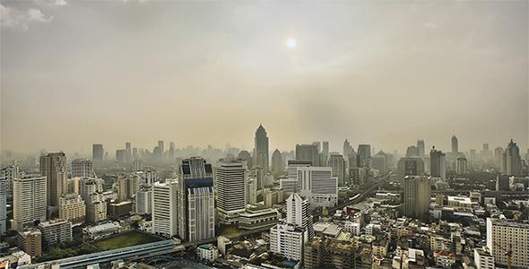 Hazy City Skyline