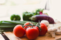 Fresh vegetables on wooden chopping board - PhotoDune Item for Sale
