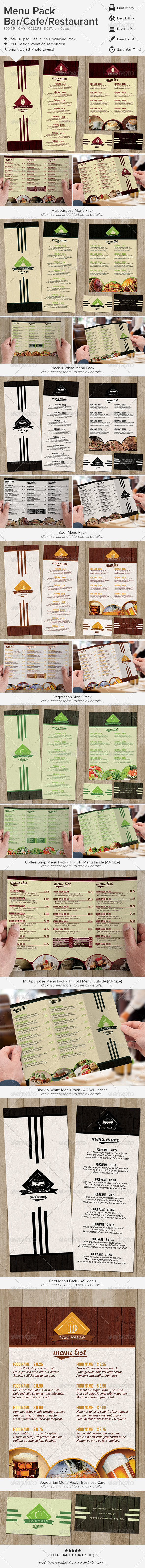 GraphicRiver Menu Pack Bar Cafe Restaurant 6355504