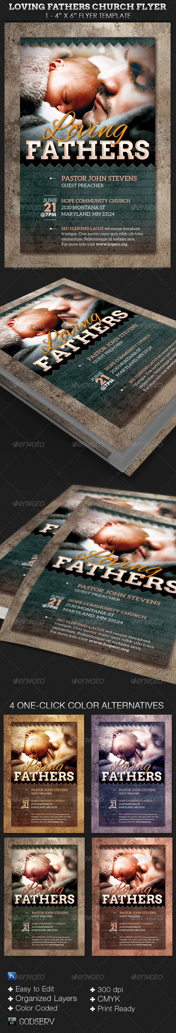 Loving Fathers Church Flyer Template - Church Flyers