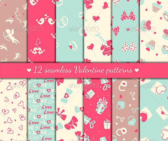 GraphicRiver Twelve Valentine s Seamless Patterns 6355756