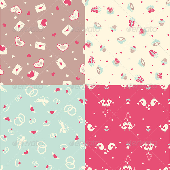 GraphicRiver Set of Four Romantic Seamless Pattern 6355852