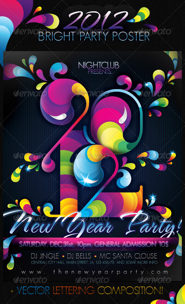 2012 Bright Party New Year Poster - Clubs & Parties Events