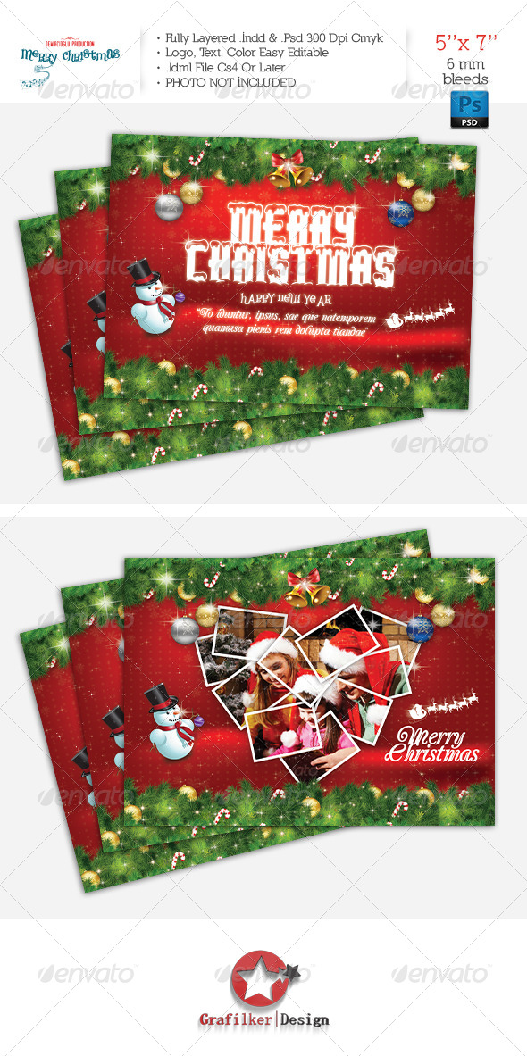 GraphicRiver Christmas Postcard Template 6355997