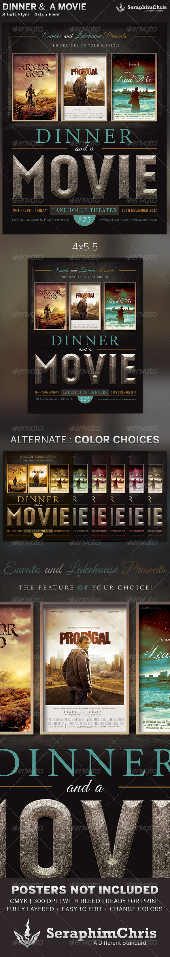 Dinner and a movie flyer template graphicriver for Film festival brochure template