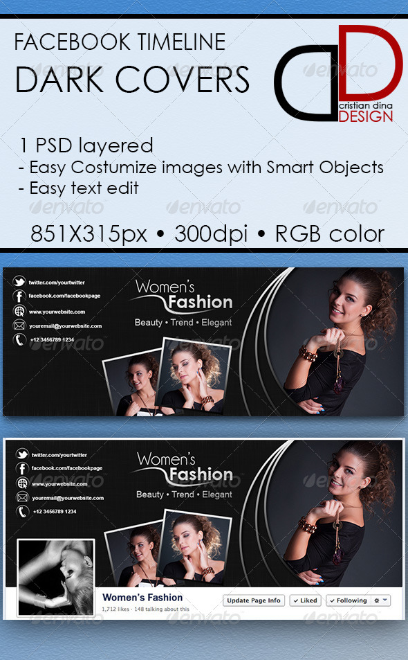 GraphicRiver Dark Facebook Timeline Covers 6357153