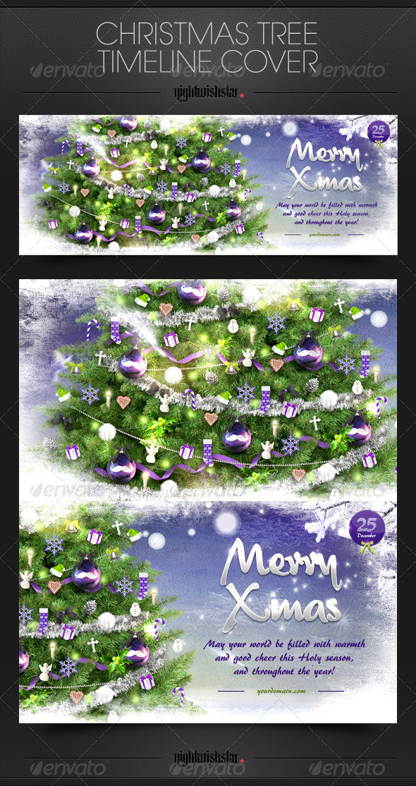 GraphicRiver Christmas Tree Timeline Cover 6357391