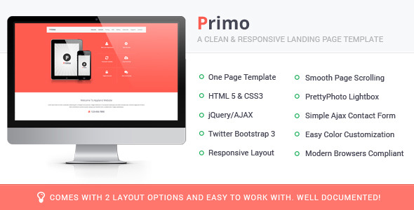 Primo Responsive Landing Page Template