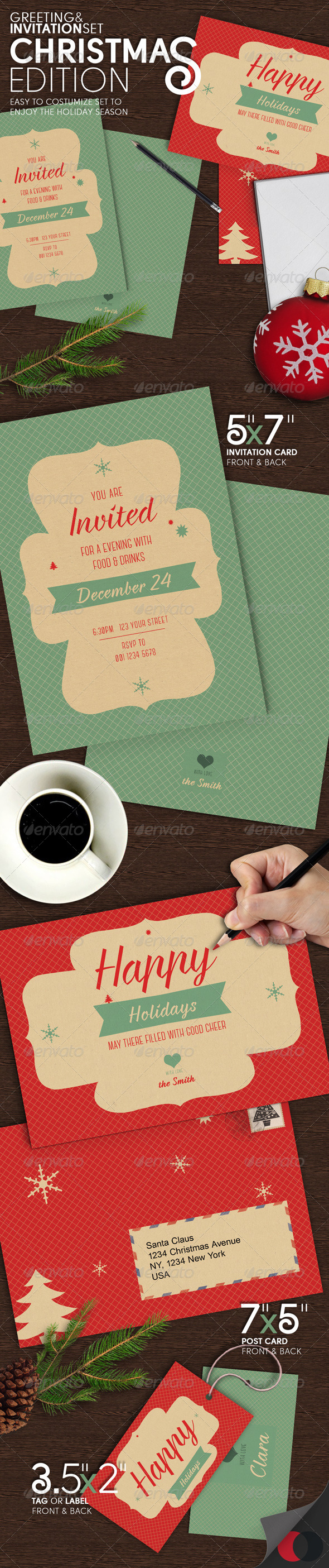 GraphicRiver Greeting & Invitation Set Christmas Edition 6346376