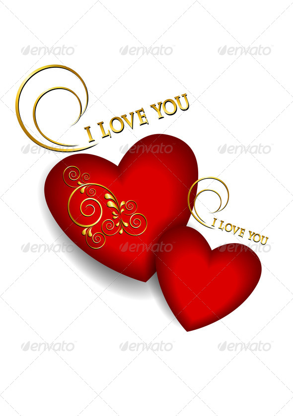 Two Volumetric Red Hearts on  White Background - Stock Photo - Images