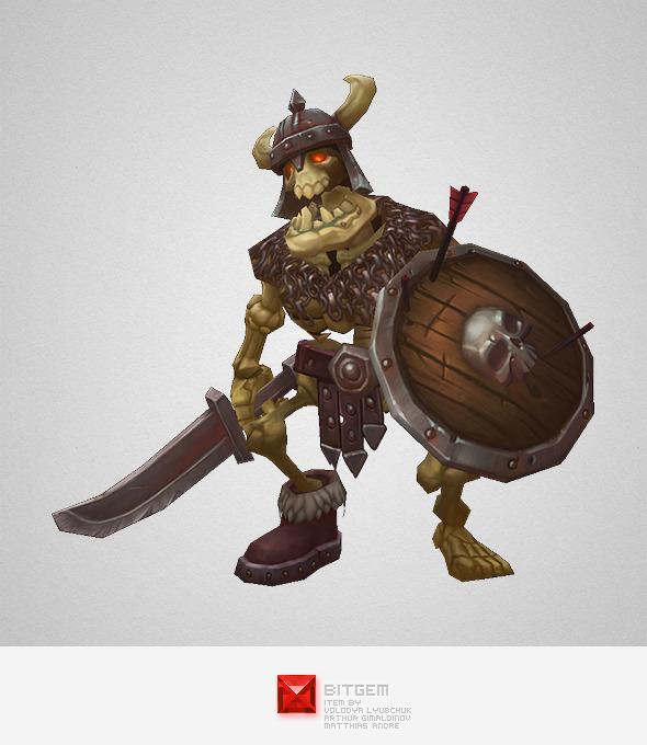 3DOcean Low Poly Skeleton Swordsman 6358707