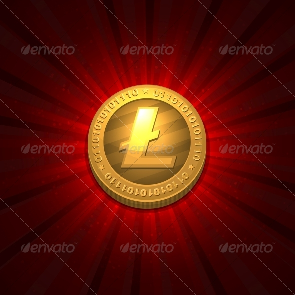 Litecoin on Red Background