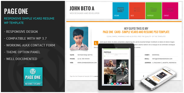ThemeForest Page One Responsive Vcard CV Resume WP Theme 6312321