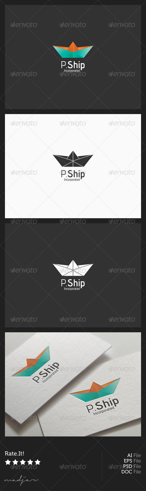 Paper Boat Logo - Objects Logo Templates