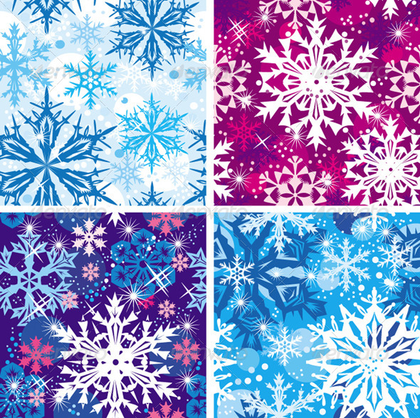 GraphicRiver Set of Seamless Snowflakes Pattern 6359728