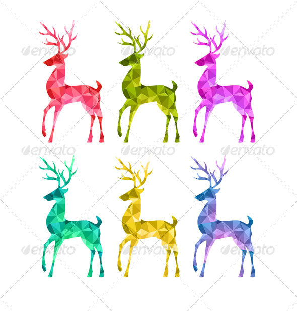 GraphicRiver Merry Christmas Colorful Abstract Reindeer 6359879