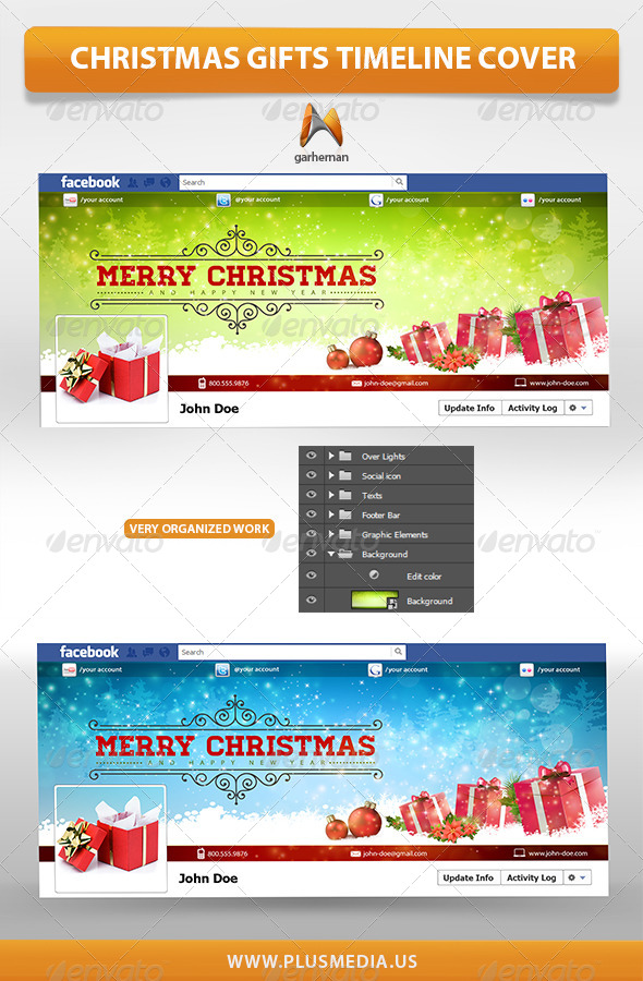GraphicRiver Christmas Gifts TimeLine Cover 6359974