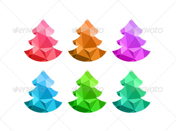 GraphicRiver Merry Christmas Colorful Abstract Trees 6360002