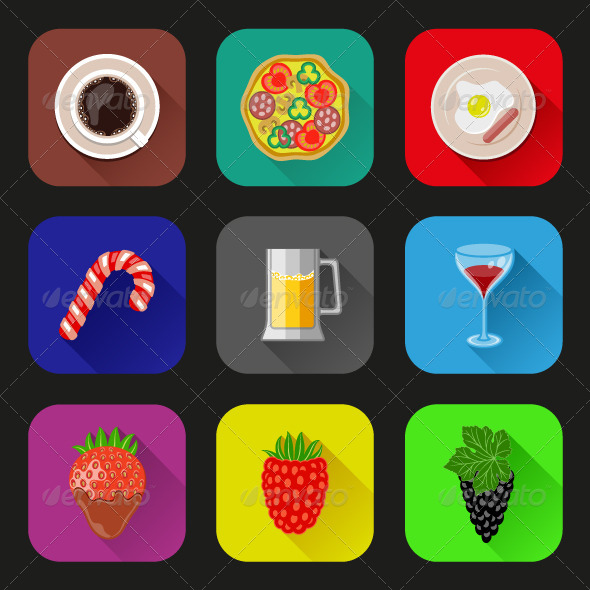 GraphicRiver Food and Drinks Icons Set 6360161