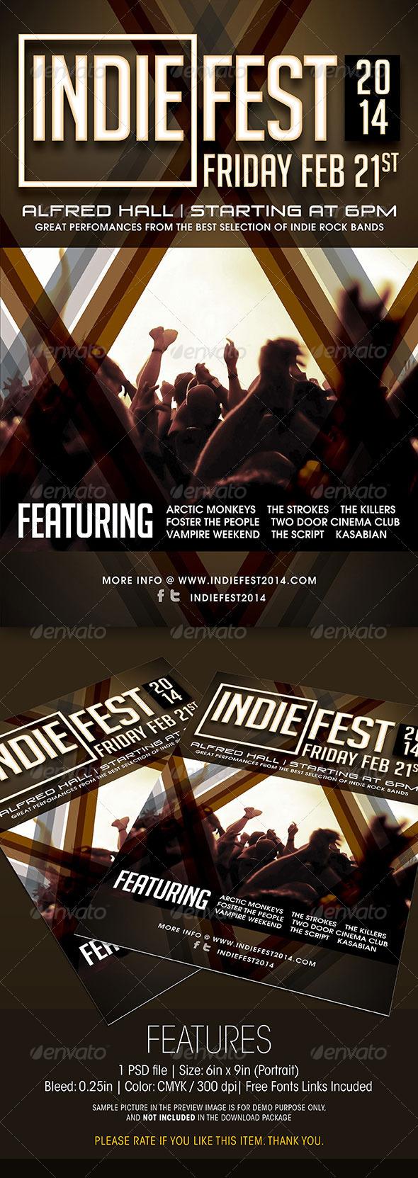 GraphicRiver Indie Fest Concert Flyer 6360285