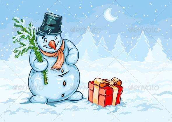 GraphicRiver Christmas Snowman and Red Gift Box with Bow 6360493