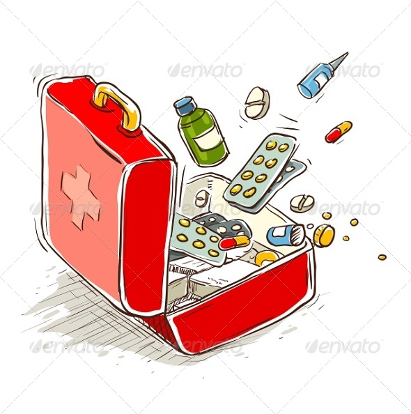 GraphicRiver First Aid Box with Medical Drugs and Pills 6360527