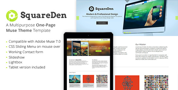 SquareDen - One Page Muse Template