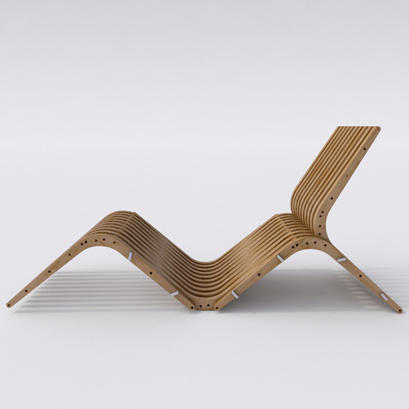 Wooden Chaise Lounge BOOMERANG - 3DOcean Item for Sale