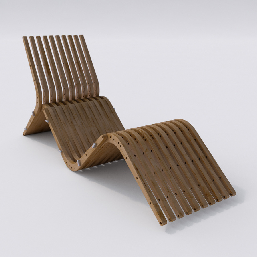 Wooden chaise lounge boomerang by gyf a m 3docean for Chaise wooden