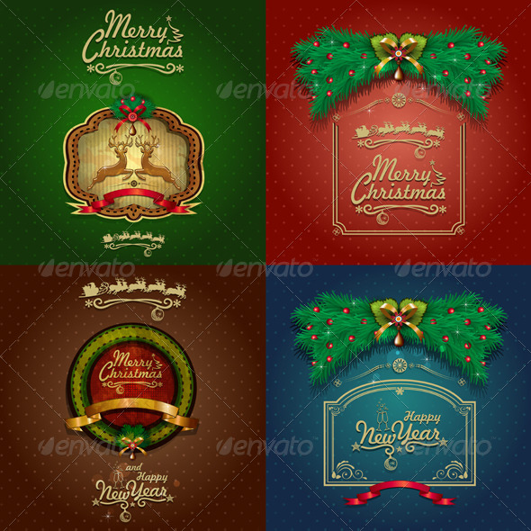 GraphicRiver Four Vintage Happy New Year 6360682