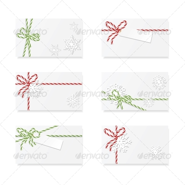 GraphicRiver Christmas Card Notes with Gift Bows 6363296