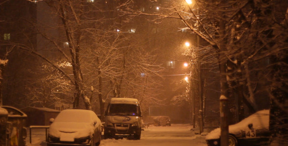 Night Snow Fall Street