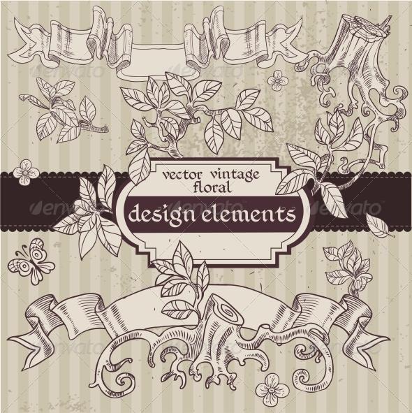 GraphicRiver Vintage Magic Fairytale Floral Design Elements 6363521