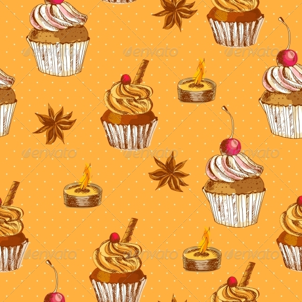 GraphicRiver Seamless Background with Cupcake and Cinnamon 6363741