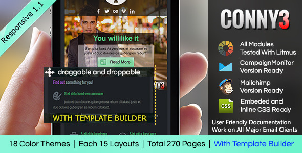 CONNY3 - Responsive Email With Template Builder - Email Templates Marketing