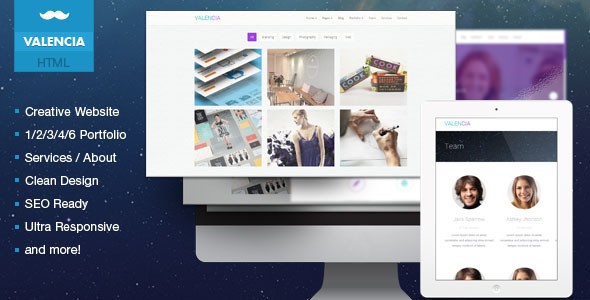ThemeForest Valencia Creative Flat iOS7 Inspired Template 6363937