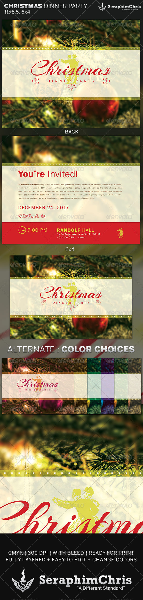 GraphicRiver Christmas Dinner Party Flyer Invite Template 6363950