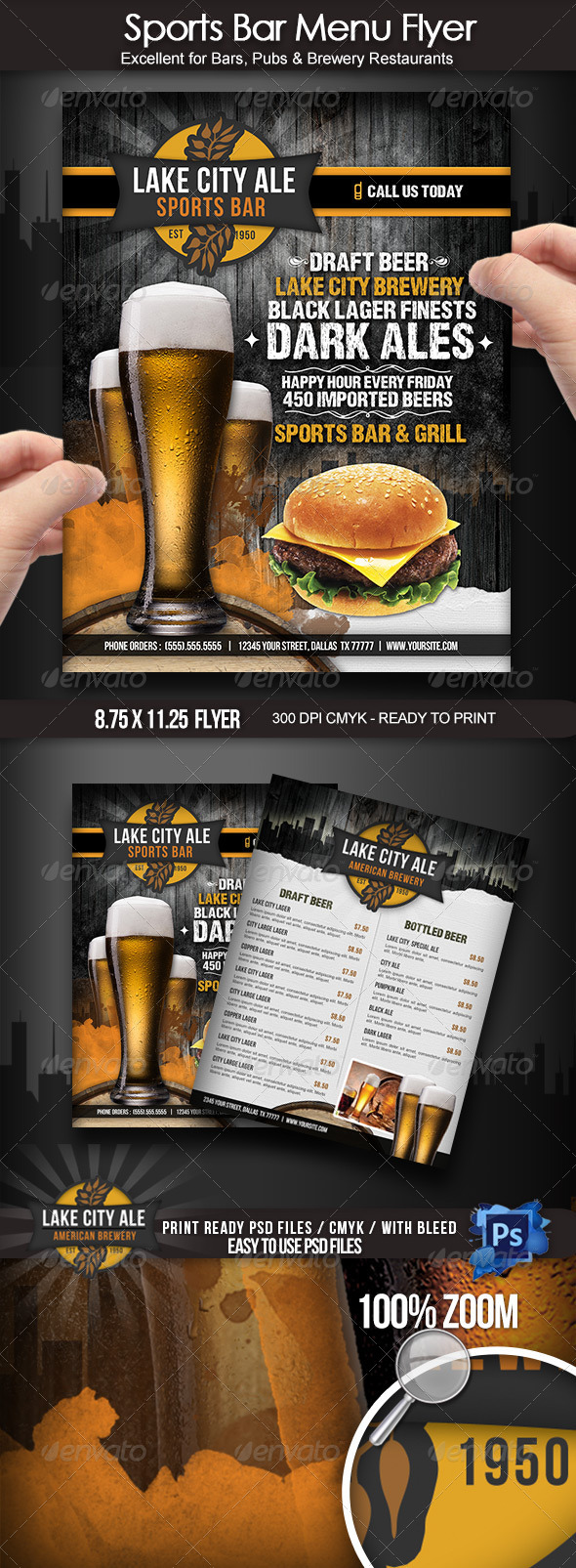 Sports Bar Menu Flyer