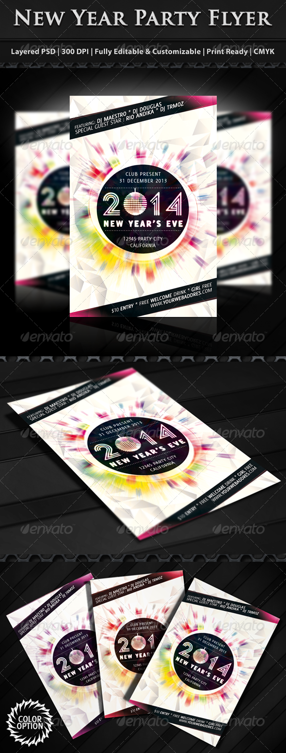 GraphicRiver Minimal New Year Party Flyer 6347750