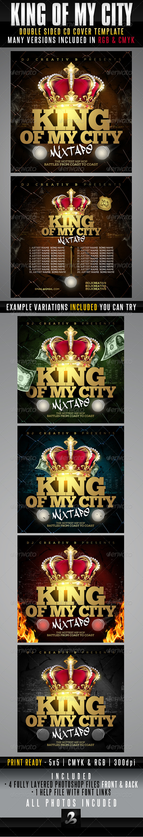 GraphicRiver King Of My City Mixtape CD Cover Template 6364899